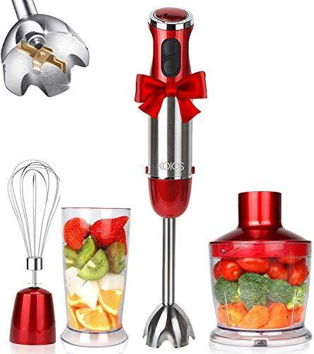 KOIOS 800W 4-in-1 Multifunctional Hand Immersion Blender, 12 Speed, 304 Stainless Steel Stick Blender, Titanium Plated, 600ml Mixing Beaker, 500ml Food Processor, Whisk Attachment, BPA-Free, Red - PHUNUZ