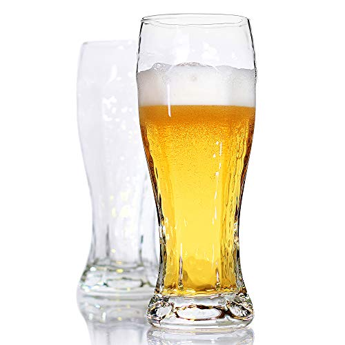LUXU Beer Glasses, Hexagon Shape Pilsner Glasses set of 2,16oz Crystal Craft Wheat Beer Glasses,Lead-free Weizen vase for Drinking LAGER,Pint glasses for ALE,Premium IPA glasses,Great Gift Idea.