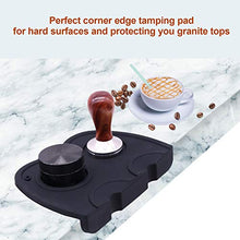 Load image into Gallery viewer, Silicone Coffee Tamper Mat, Anti-Slip High-Grip Espresso Tamp Holder Tool, BooTaa Food-Safe Thicken Anti-Skid Coffee Corner Edge Tamping Powder Pad 63mm to Protect Your Worktop - Black
