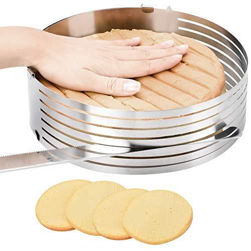 Cake Leveler Cake Slicer Adjustable Big Cake Rings 7-Layer Cake cutter Stainless Steel Cake Slicing Accessories, 9.8-12.2 inch - PHUNUZ