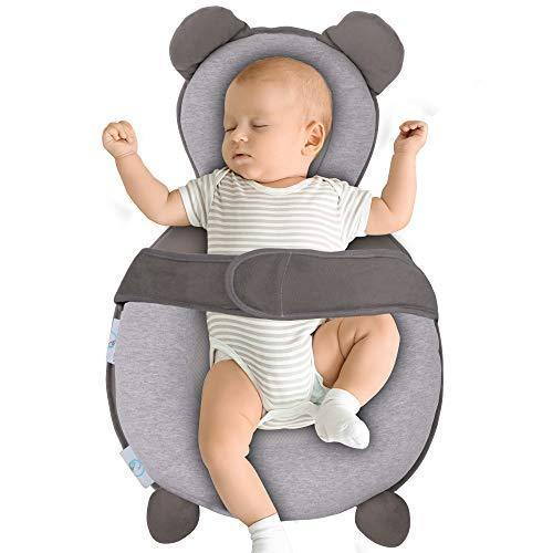 BIBLY BABY Portable Baby Bed | Prevent Flat Head Syndrome | Thick Newborn Lounger Bed for Comfortable Sleep | Baby Pillows for Sleeping at Home or On The Go | Easy Cleaning Baby Crib Mattress - PHUNUZ