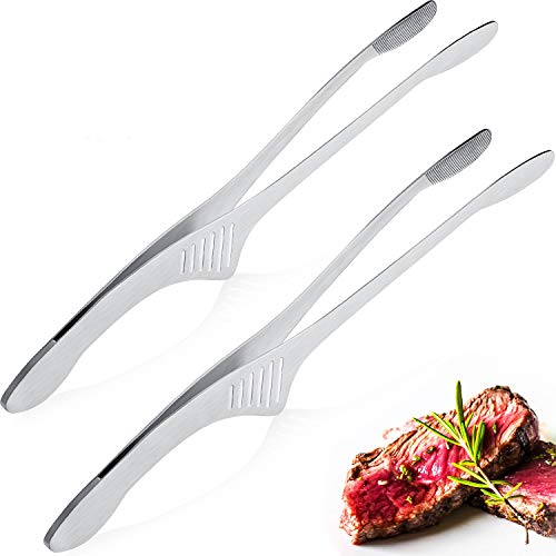 Patelai Stainless Steel Grill Tongs Korean Japanese BBQ Tongs Kitchen Tongs for Cooking Small Oven Serving Tong with Support Stand Self-Standing Tongs for Salad, Grill, Camping, Barbecue, Buffet (2)