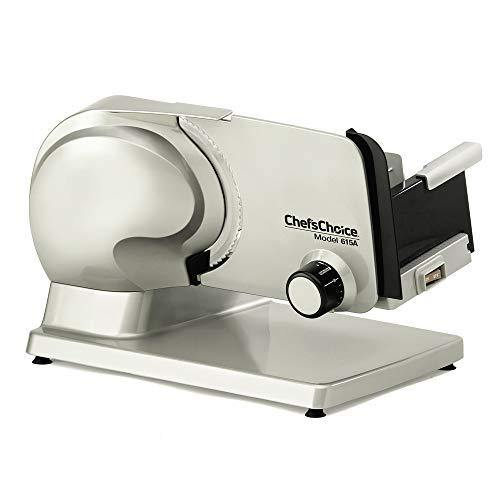 Chef'sChoice 615A Electric Meat Slicer Features Precision thickness Control & Tilted Food Carriage For Fast & Efficient Slicing with Removable Blade for Easy Clean, 7-Inch, Silver - PHUNUZ