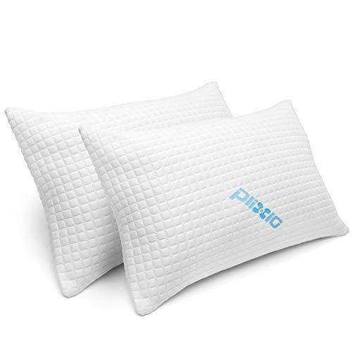 2 Pack Shredded Memory Foam Bed Pillows for Sleeping - Bamboo Cooling Hypoallergenic Sleep Pillow for Back and Side Sleeper - Queen Size - PHUNUZ