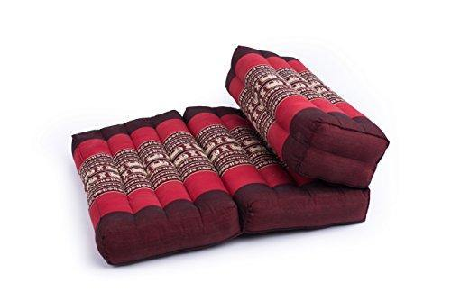 GABUR Foldable Meditation Cushion, 100% Kapok, Red Elephants - PHUNUZ