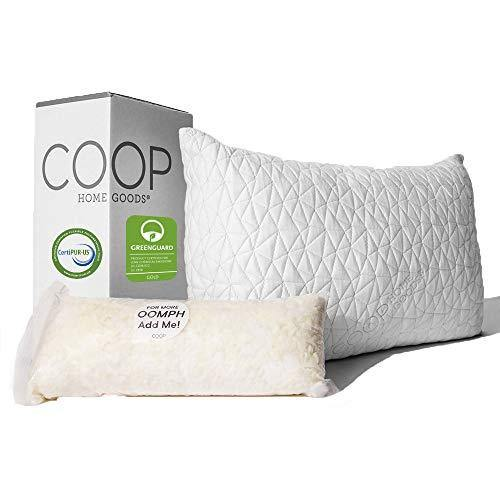 Coop Home Goods - Premium Adjustable Loft Pillow - Hypoallergenic Cross-Cut Memory Foam Fill - Lulltra Washable Cover from Bamboo Derived Rayon - CertiPUR-US/GREENGUARD Gold Certified - Queen - PHUNUZ