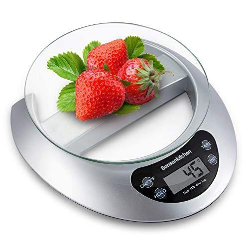 Digital Precision Food Kitchen Scale 11 lbs/0.1Oz (Batteries Included) Multifunction Weighing Gram Scale with Glass for Baking and Cooking - PHUNUZ