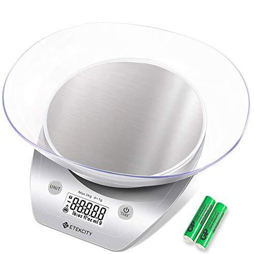 Etekcity 0.1 g Food Kitchen Gram Scale with Bowl, Accurate Measuring Tools in Ounces and Pounds for Baking, Cooking, Packages and Weight Loss, 11lb, Silver Stainless Steel - PHUNUZ