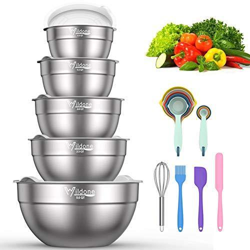Mixing Bowls with Airtight Lids - Wildone 19 Piece Stainless Steel Nesting Bowls Set, BPA Free & Extra Deep, Size 5, 2.5, 2, 1.5, 1 QT, Great for Mixing & Serving - PHUNUZ