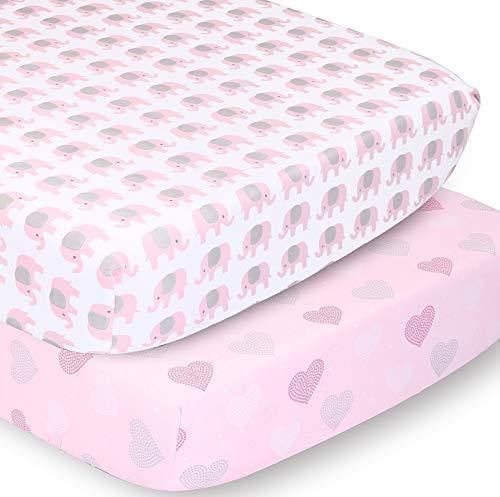 The Peanutshell Fitted Crib Sheet Set for Baby Girls | Pink Elephant & Hearts | 2 Pack Set - PHUNUZ