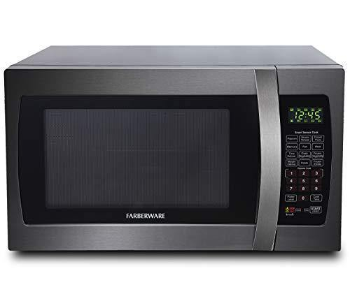 Farberware Black FMO13AHTBSE 1.3 Cu. Ft. 1100-Watt Microwave Oven with Smart Sensor Cooking, ECO Mode and Blue LED Lighting Black Stainless Steel - PHUNUZ