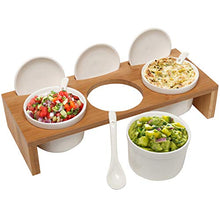 Load image into Gallery viewer, (3 Pcs) 3.5-Inch Ceramic Condiment Dip Sauce Ramekins Set w/ Lids & Spoons on Bamboo Sampler Serving Tray