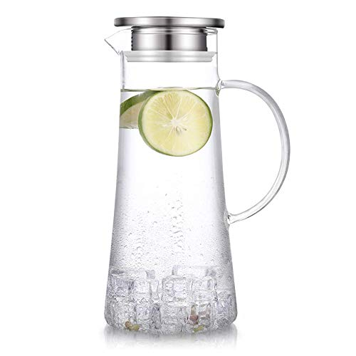 SUSTEAS 51 ounces glass pitcher with lid iced tea pitcher water jug hot cold water wine coffee milk and juice beverage carafe