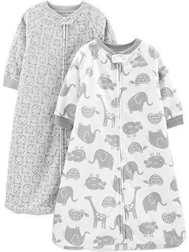 Simple Joys by Carter's Baby 2-Pack Microfleece Sleepbag Wearable Blanket, Heather Grey Animals, 6-9 Months, 17 to 21 lbs - PHUNUZ