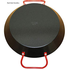 "Load image into Gallery viewer, IMUSA USA 10"" Carbon Steel Coated Nonstick Paella Pan, Black, Red Handles"