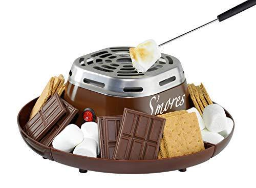 Nostalgia Indoor Electric Stainless Steel S'mores Maker with 4 Compartment Trays for Graham Crackers, Chocolate, Marshmallows and 2 Roasting Forks, Brown - PHUNUZ