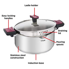 Load image into Gallery viewer, T-fal Stainless Steel with Easy-Lock System Cook & Clip, 5-Quart, Silver