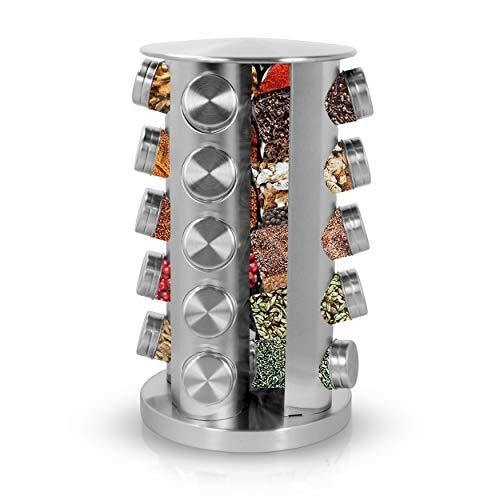 Simpli-Magic Revolving 20-Jar Countertop Spice Rack, Stainless Steel - PHUNUZ