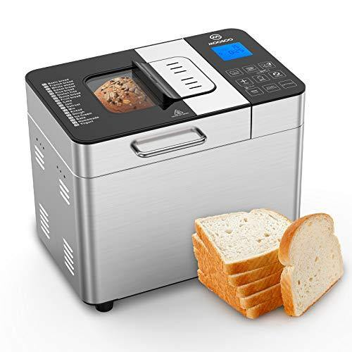 MOOSOO Bread Maker with Automatic Fruit Dispenser, Stainless Steel Bread Machine 2LB 18-in-1 Digital Breadmaker with DIY Home Made Function, 8 Deluxe Accessory kits - PHUNUZ