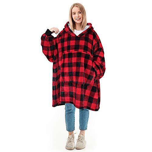 Oversized Blanket Sweatshirt, Super Soft Warm Cozy Wearable Sherpa Hoodie for Adults & Children, Reversible, Hood & Large Pocket, One Size, Red Plaid - PHUNUZ