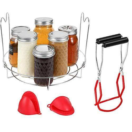 4 Pieces Canning Essentials Set Include Stainless Steel Canning Rack, Canning Tongs Pickling Tongs, and Cooking Pinch Mitts Potholder Silicone Oven Mitts for Kitchen Heating Cooking Regular Mouth Jars - PHUNUZ