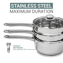 Load image into Gallery viewer, Double Boiler & Steam Pots for Melting Chocolate, Candle Making and more - Stainless Steel Steamer with Tempered Glass Lid for Clear View while Cooking, Dishwasher & Oven Safe - 3 Qts & 4 Pieces