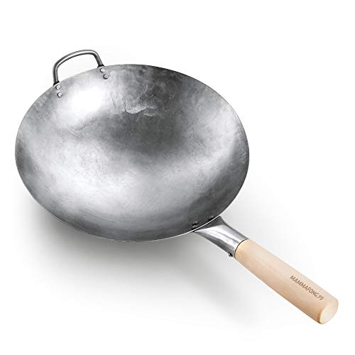 Round Bottom 14-inch Traditional Carbon Steel Wok Pan - Authentic Hand Hammered Woks and Stir Fry Pans - Pow Wok with no chemical coating by Mammafong…