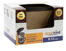 Load image into Gallery viewer, GoldTone Brand Reusable No.4 Cone Style Replacement Coffee Filter replaces your Cuisinart Permanent Coffee Filter for Machines and Brewers (1 Pack)