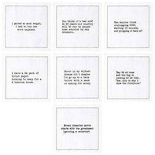 "Load image into Gallery viewer, Signature Napkins Quarantine Quotes Cotton Cocktail Napkins - 50 x White 4.5"" x 4.5"" Assorted Quotes - Single Use - Party, Events, Holiday"