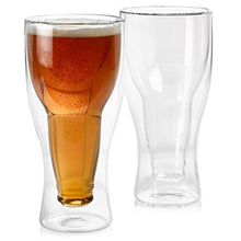 Load image into Gallery viewer, Set of 2 Double Wall Beer Glass, Unique Beer Glasses, Dad Beer Glass, Cool Beer Glasses, Insulated Beer Mug, Double Beer Mug, Fit up to 14 ounces