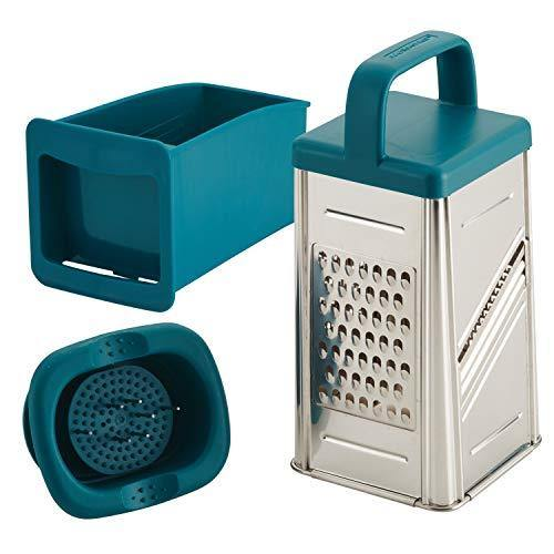 Rachael Ray Tools and Gadgets Stainless Steel Box Grater for Vegetables, Chocolate, Hard Cheeses, and more, Teal Blue - PHUNUZ