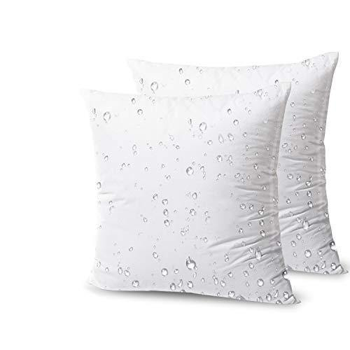 Phantoscope Premium Outdoor Pillow Inserts - Pack of 2 Square Form Decorative Throw Pillow Couch Sham Cushion Stuffer 18 x 18 inches- Water, Mildew, Dust Mite Resistant - PHUNUZ