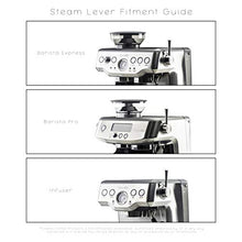 Load image into Gallery viewer, Crema Coffee Products | Replacement Steam Lever for Breville Espresso Machines | Brushed Silver | Fits the Barista Express, Infuser, Barista Pro