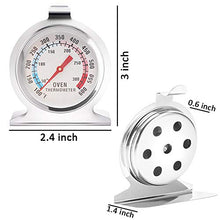 Load image into Gallery viewer, Anvin Oven Thermometers Large Dial Oven Grill Monitoring Cooking Thermometer with Dual-Scale 50-300°C/100-600°F for BBQ Baking, Hooks or Stands Alone Thermometers Durable Steel (Pack of 2)