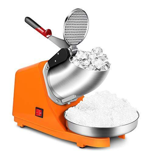 Flexzion Electric Ice Shaver Crusher Machine (Orange) 300W Snow Cone Maker Shaved Ice Slushie Maker with Stainless Steel Body, Blade, Tray Commercial Slush Machine for Kitchen, Party, Restaurant - PHUNUZ
