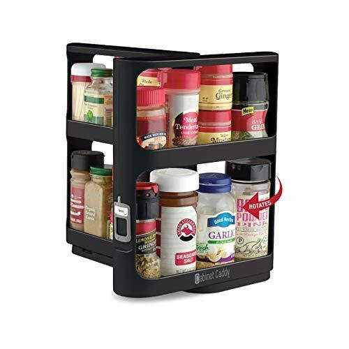 Cabinet Caddy (Black) - Pull-and-Rotate Spice Rack Organizer, Two 2-Tiered Shelves, Modular, Non-Skid Base, Store Prescriptions, Hardware, Essential Oils, Crafts (10.75