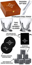 Load image into Gallery viewer, Whiskey Stones and Whiskey Glass Gift Boxed Set, 8 Granite Chilling Whisky Rocks, 2 Glasses in Wooden Box, Great Gift for Father's Day, Dad's Birthday or Anytime For Dad, Plus 2 Free Coasters
