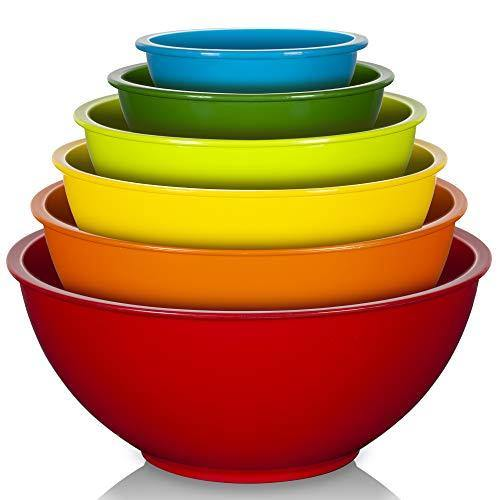YIHONG 6 Pcs Plastic Mixing Bowls Set, Colorful Mixing Bowls for Kitchen, Ideal for Baking, Prepping, Cooking and Serving Food, Nesting Bowls for Space Saving Storage - PHUNUZ