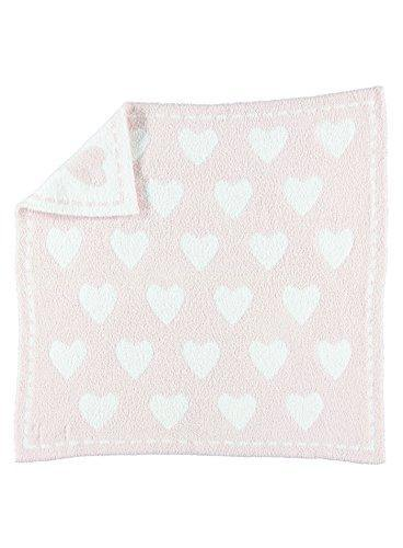 Barefoot Dreams CozyChic Dream Receiving Blanket - Pink/White Hearts - PHUNUZ
