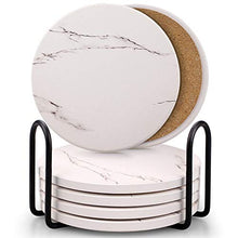Load image into Gallery viewer, Coasters for Drinks, Absorbent Ceramic Stone Coaster Set with Metal Holder Stand, Cork Base, Marble Surface Pattern, Cups Place Mats for Home Decor, Set of 6 - White