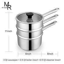 Load image into Gallery viewer, Double Boiler & Steam Pots for Melting Chocolate, Candle Making and more - Stainless Steel Steamer with Fashion Flat Glass Lid for Clear View while Cooking, Dishwasher & Oven Safe - 3 Qts & 4 Pieces