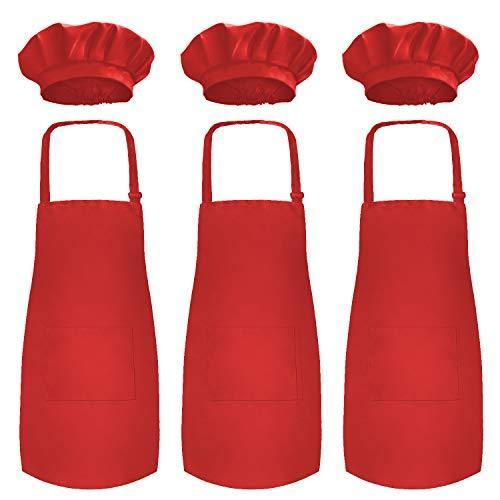 Novelty Place Kid's Apron with Chef Hat Set (3 Set) - Children's Bib with Pocket Skin-Friendly Fabrics - Cooking, Baking, Painting, Training Wear - Kid's Size (6-12 Year, Red) - PHUNUZ