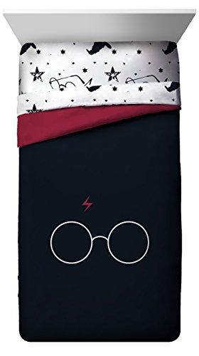 Jay Franco Harry Potter Always Glasses & Lightning Bolt Super Soft Kids Twin/Full Comforter, Bedding - Fade Resistant Polyester Microfiber Fill (Official Harry Potter Product) - PHUNUZ