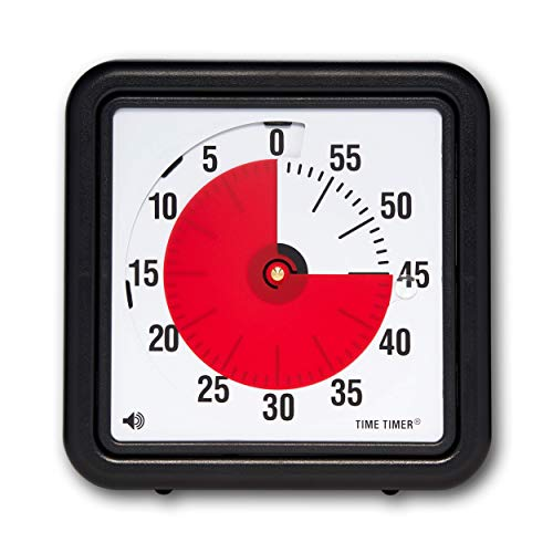 Time Timer - TTA1-W Original 8 inch 60 Minute Visual Timer — For Kids, Classroom Learning, Elementary Teachers Desk Clock, Homeschool Study Tool and Office Meetings with Silent Operation (Black)