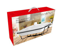 Load image into Gallery viewer, Le Regalo 3-Piece Bake and Server Food Warmer Set, 14.5x9.5x2.25, White