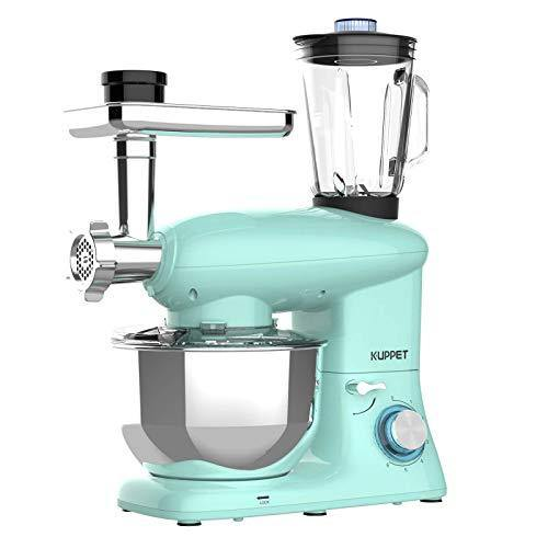KUPPET 3 in 1 Stand Mixer, 6 Speed Electric Mixer, Tilt Head Kitchen Mixer with Meat Grinder and Juice Blender, 6 Quarts 850W Food Mixer - Blue - PHUNUZ