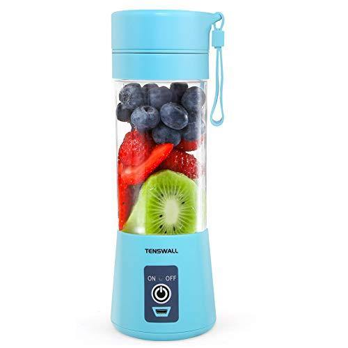 Portable Blender, Personal Size Blender USB Rechargeable with 6 Blades for Shakes and Smoothies, Mini Blender with 13oz Jucie Cup for Sports,Travel,Gym,home and office Blue - PHUNUZ