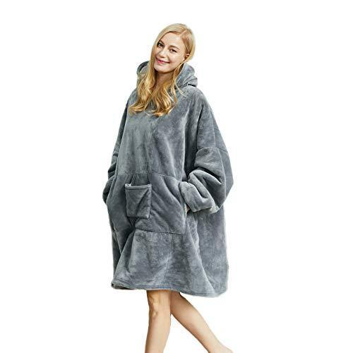 Blanket Hoodie Sweatshirt, Wearable Sherpa Fleece Oversized TV-Blanket (Dark Grey, Oversize) - PHUNUZ