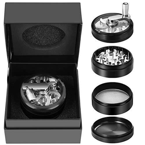 Hand Spice Herb Grinder Unbreakable Aluminum Grinder for Herb and Spice Lightweight for Easy Storage and Carrying 4 Parts (black) - PHUNUZ
