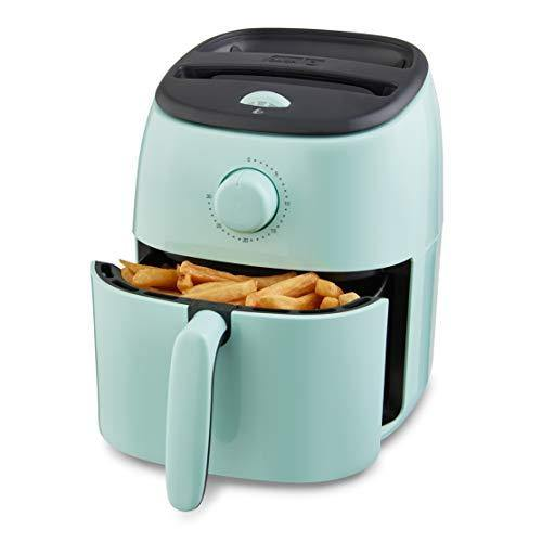 Dash DCAF200GBAQ02 Tasti Crisp Electric Air Fryer Oven Cooker with Temperature Control, Non-stick Fry Basket, Recipe Guide + Auto Shut Off Feature, 1000-Watt, 2.6Qt, Aqua - PHUNUZ